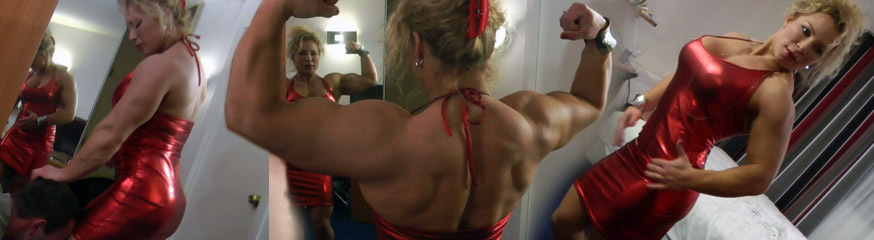 anna m strong super strong beautiful female bodybuilder in red dress
